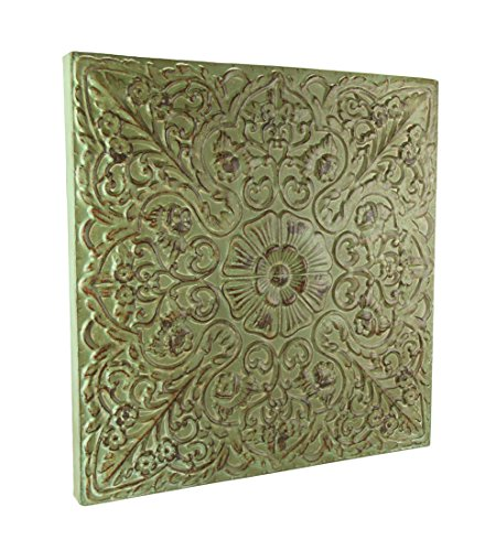Elico Ltd. Embossed Floral Medallion Metal Wall Plaque in Blue or Green