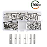 INNKER 200pcs 3 Sizes Non-Insulated Butt Connectors with Storage Box Uninsulated Crimp Wire Connectors Tin-Coated Copper Butt Terminal Connectors for Wire Connecting