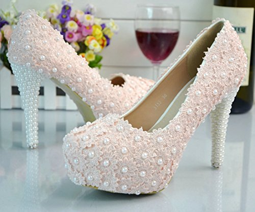 Dress Pink Wedding Stiletto Lace Pumps Party Lady TDA 11cm Elegant Women's Heel nBwgqZxYH