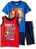 Marvel Little Boys' Spiderman 3 Piece Short Set, Blue, 4
