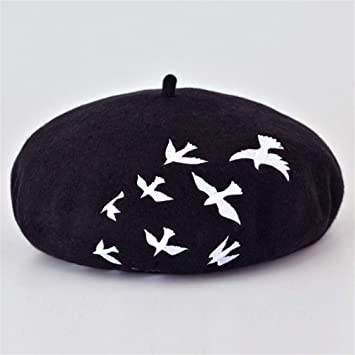 Amazon.com : New Fashion Winter Wool Felt Berets For Women Artist Boina Embroidery Cap Fashion Gorras Planas Flat Cap Female Stewardess Hats Black : Beauty