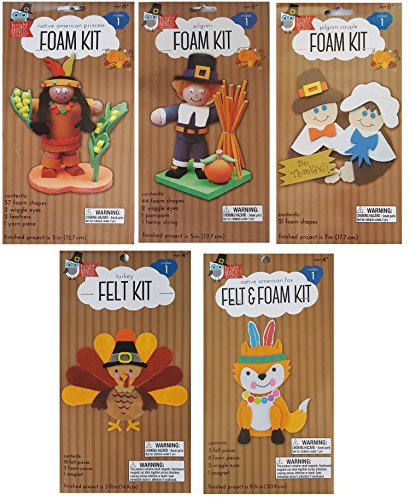 Thanksgiving Craft Kit for Kids - 5 Piece Holiday Activity Set Includes Decorative Pilgrim and Native American Princess Foam Kits with Fox and Turkey Felt (Thankful Turkey Craft)