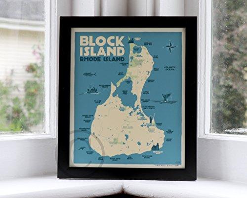 Block Island Map, Rhode Island Framed Print (8x10 Lighthouse Travel Poster, Wall Decor Art)