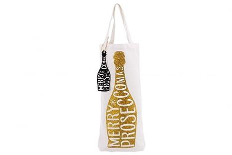 """Bolsa de regalo para botella de vino Prosecco """"Merry proseccomas"""", decorada con"""