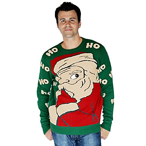 Digital Dudz Peeking Santa Christmas Sweater, Green, Small ()