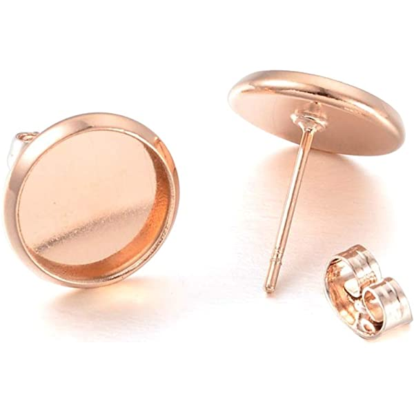 10mm Bezel Earring Blanks With Faux Druzy Cabochons and Earring Back Earring Kit Rose Gold Bezel Earring Studs Choose Your Color