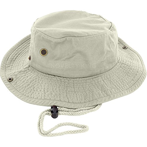 - DealStock 100% Cotton Boonie Fishing Bucket Hat with String Khaki