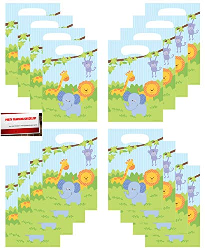 Jungle Friends (16 Pack Forest Animals Safari Lion Elephant Monkey Birthday Party Plastic Loot Treat Candy Favor Bags (Plus Party Planning Checklist by Mikes Super Store) ()