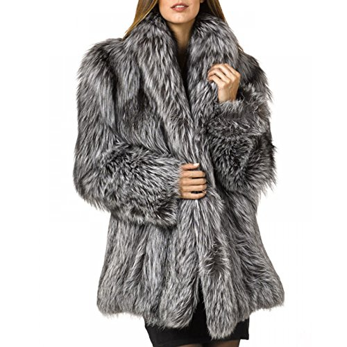 Rvxigzvi Womens Faux Fur Coat Parka Jacket Long Trench Winter Warm Thick Outerwear Overcoat Plus Size S-4XL (Silver Grey, US XS/0-2)