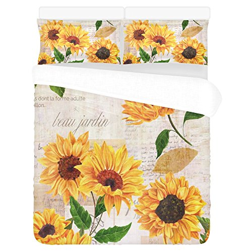 InterestPrint Summer Warm Sunflower 3 Piece Bedding Sets Queen Full, Watercolor Painting Paper with Flower Duvet Cover with 2 Pillowcase for Home Bedding Room Decoration ()