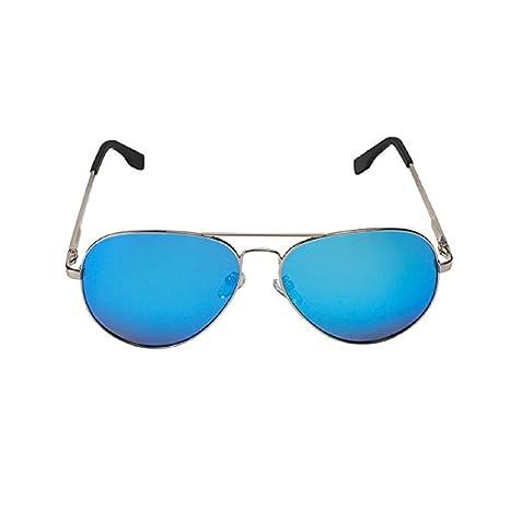 Feililong - Gafas de sol tipo aviador (protección UV400, unisex, espejadas) blau Spiegellinse / Silberrahmen