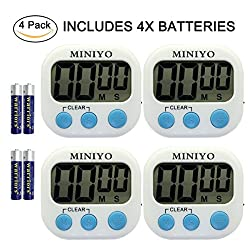 Kitchen Timer, MINIYO Digital Timer Clock, Loud Alarm, Magnetic Stand, Large LCD Display, Plus or Minus the Countdown (4 Pack, Battery Included)