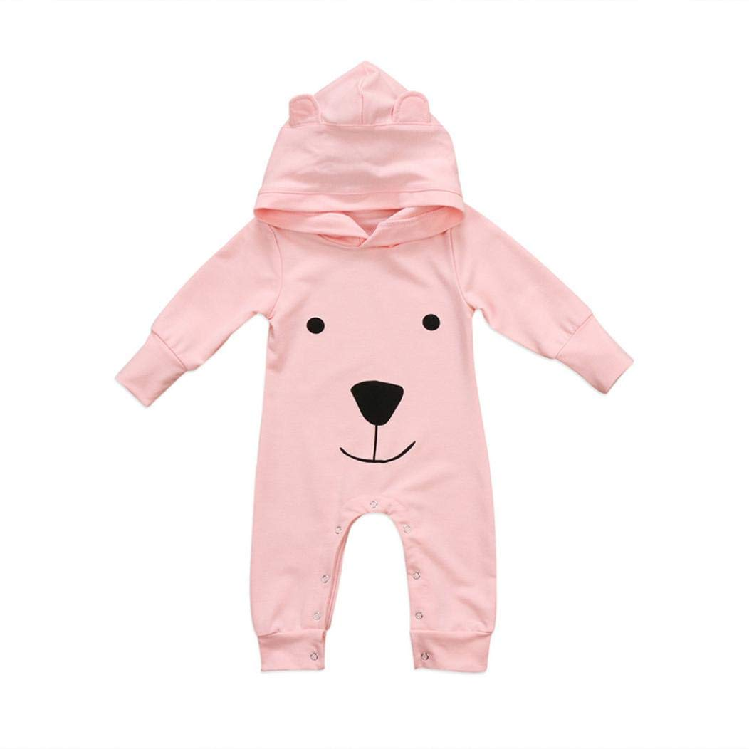 Xshuai Infant Baby Boy Girl Clothes Long Sleeve Hooded Cartoon Pjs Romper Jumpsuit Outfits Size UK 6-24 Months