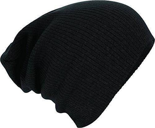 Slouch Beanie, Winter Skimütze gerippt Farbe black