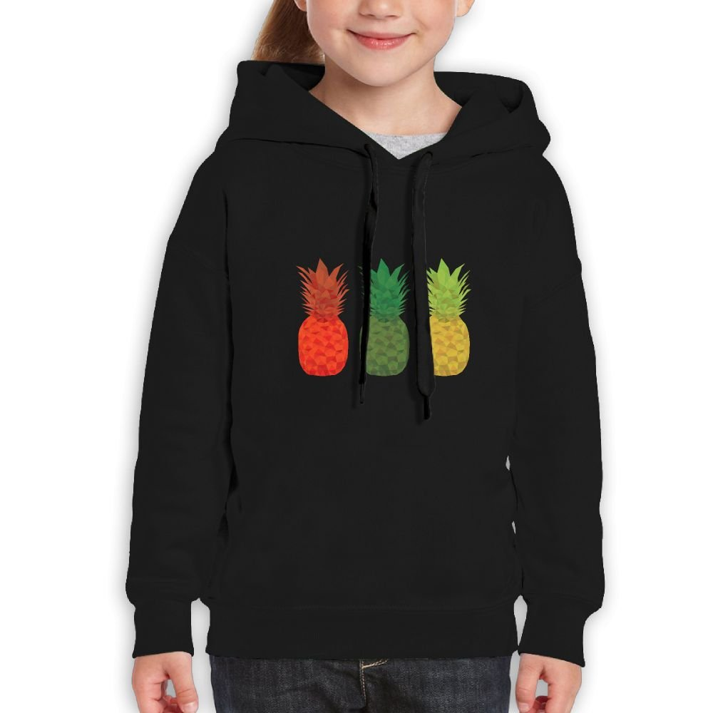 Red Green Yellow colorful Pineapple Girls Boys Teens Cotton Long Sleeve Cute Sweatshirt Hoodie Unisex