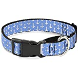 Buckle-Down Anchor2 Monogram Baby Blue/Baby Pink/White Martingale Dog Collar, 1.5