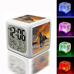 Digital Alarm Thermometer Night Glowing Cube 7 Colors Clock LED Customize the pattern 029.Black Beauty Stallion, Horse
