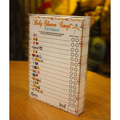 Baby Shower Games - Emoji Pictionary Cards, Fun Guessing Game for Girls Boys Babies Gender Neutral Ideas Shower Party, Prizes for Game Winners, Favorite Adults Games for Baby Shower Favors -