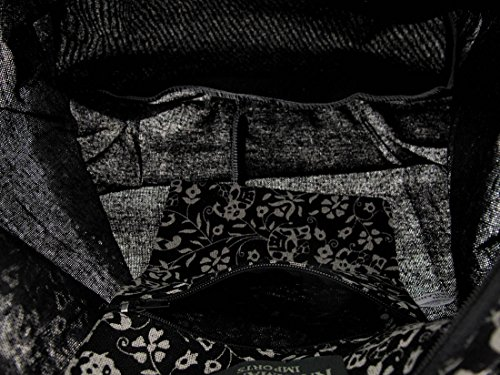 Black Zeckos Cotton Crossed Black Women Bag EIqIr