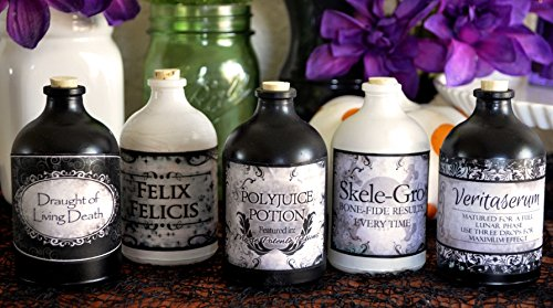 Harry Potter Vintage Apothecary Potion BLACK & WHITE STICKER LABELS FOR GLASS BOTTLES Halloween Birthday Party Wedding -