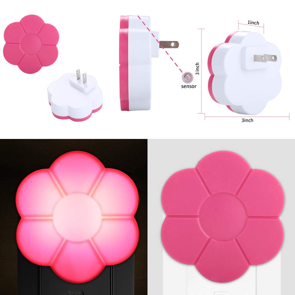 Amazon.com : Rumas Plug in Night Light with Auto Dusk to Dawn Sensor - Flower Shape LED Night Light for Kids Room Bedroom Stair - Energy Saving Long ...