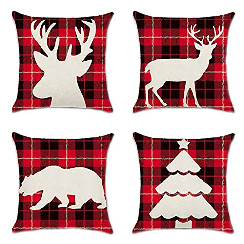 YESWOMAN 4Pcs Home Decor Cushion Case Style Throw Pillowcase Merry Christmas Pillow Cover with Tree Vintage Truck Pattern