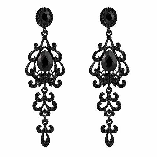 BriLove Women's Victorian Style Wedding Bridal Crystal Teardrop Chandelier Dangle Earrings Black (Victorian Style Earrings)