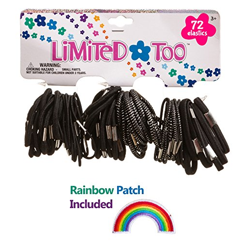 Limited Too Girls Rubber Hair Elastic Bands Ponytail Set (72 Piece) Black White