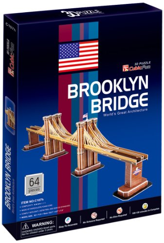 Brooklyn Bridge New York Worlds Great Architecture Series 3D Puzzle NYC Souvenir for Kids Children - 64 pcs