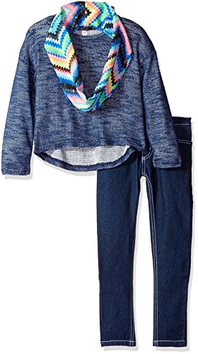 Kensie Big Girls' Fashion Top and Pant Set (More Styles Available), 2421 Dark Blue Denim, 10