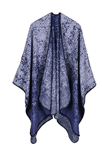 VamJump Womens Fall Winter Faux Wool Blanket Gradient Colors Shawls Poncho Scarf Navy Blue