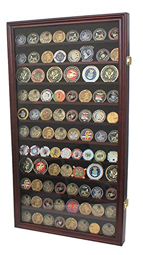 Large Military Challenge Coin Display Case Cabinet Rack Holder, Poker Chip, Geo Coin Display Cabinet (Mahogany Finish)