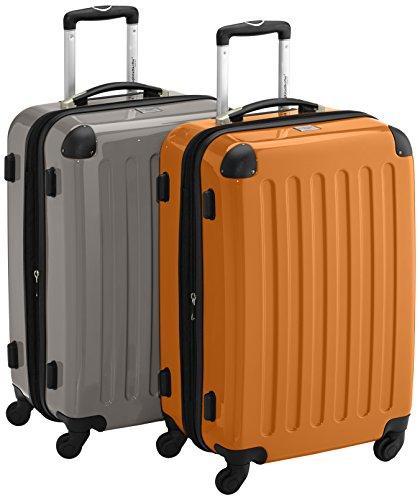 HAUPTSTADTKOFFER - Alex - 2er Koffer-Set Hartschale glänzend, 65 cm, 74 Liter, Graphit-Gelb Graphit-orange