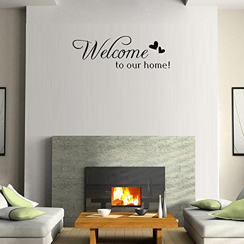 BIBITIME Double Hearts Sayings Welcome to our home Door Sign Sticker Letters Wall Decal for Living Room Porch Garden Front Door Nursery Window Kids Room - Letters Garden Wall