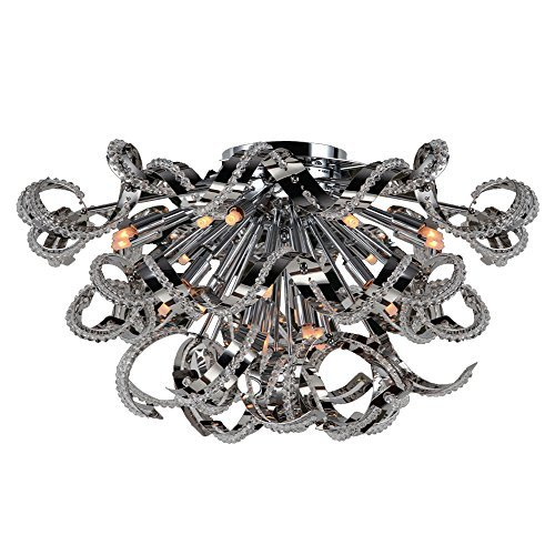 Worldwide Lighting 19-Light Medusa Collection Flush Mount, Chrome Clear Crystal by Worldwide - Medusa Collection