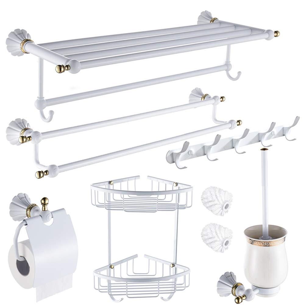 ZHANWEI Bathroom Shelves Shower Organiser European Style White Paint Copper Towel Racks 6-Piece Set (Color : White, Size : 6 PCS)