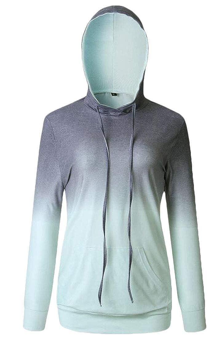 Domple Womens Gradient Color Stylish Pocket Pullover Hoodie Sweatshirt