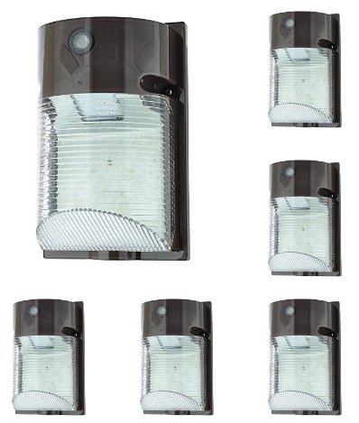 LEDwholesalers 12-Watt LED Wall-Mount Outdoor Light Fixture with Photo Sensor, Daylight 5000K, White, (Package of 6), 3776WHx6
