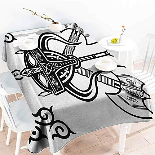 DILITECK Stain-Resistant Tablecloth Viking Helmet with Horn Arrow Axe Antique War Celtic Style Medieval Battle Art Prints Excellent Durability W52 xL70 Black White (Cloth Viking Helmet)