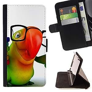 Momo Phone Case / Flip Funda de Cuero Case Cover - Loro colorido Gafas 3D Animación Hipster - Sony Xperia M2
