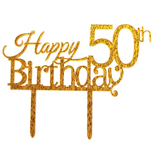 Glitter Gold Acrylic Happy 50th Birthday Cake Topper, 50 Birthday Party Cupcake Topper Decoration (50, gold)