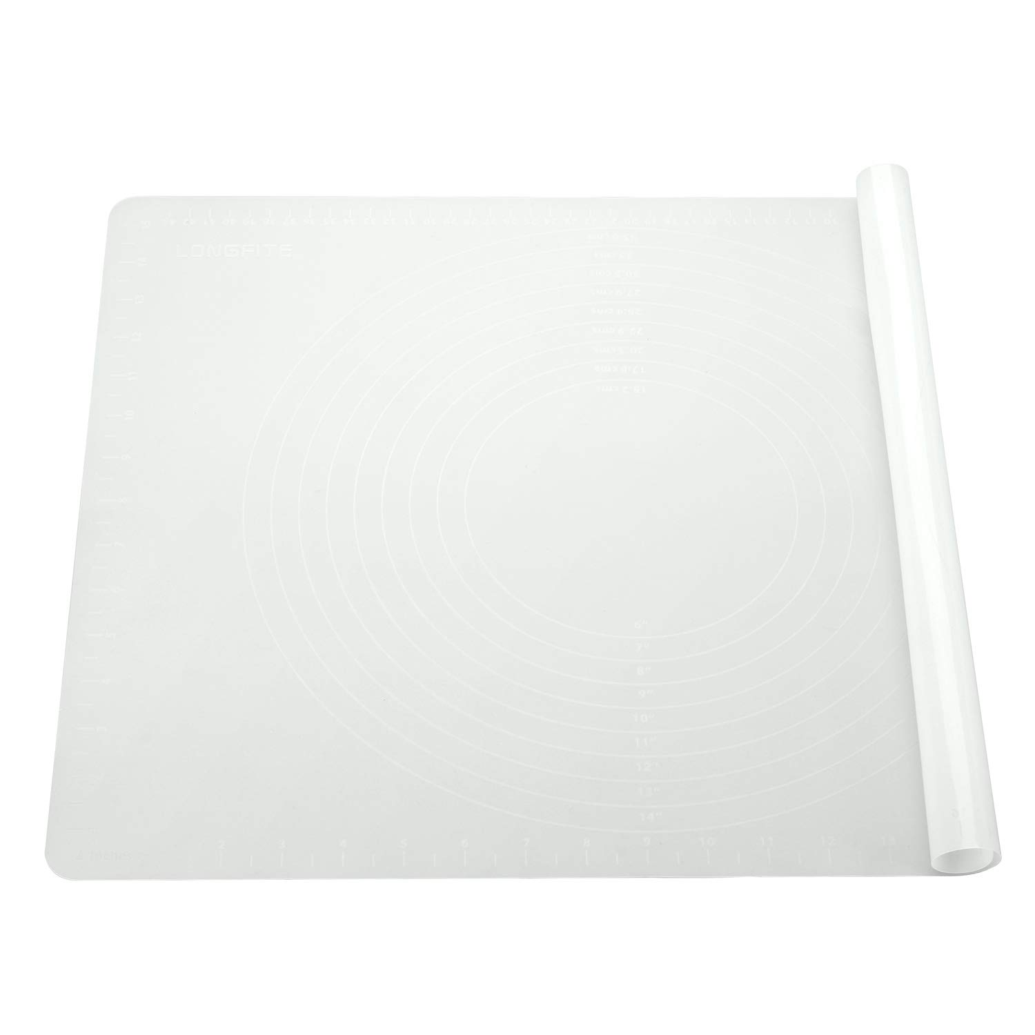 Silicone Baking Mat for Pastry Rolling Dough Mats Large Nonstick and Nonslip with Measurements,Dining Table Placemat 20'' by 16'', White