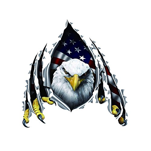 Car Decals Stickers Bald Patriotic Eagle American USA Flag 3D Colorful Decorations Accessories Waterproof Door Windows Seal 11.8''×11.8'' 1 pc【1797】