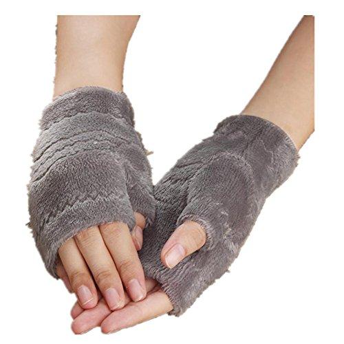 Winter Autumn Thick Warm Gloves Keyboard Leak Finger Gloves Gray - 4