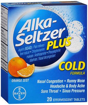Alka-Seltzer Plus Cold Formula Effervescent Tablets Orange Zest 20 ea (Pack of 2) (Sinus Cold And Alka Seltzer)