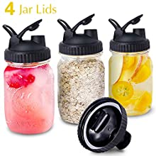 Mason Jar Lids, 4 Pack Wide Mouth Mason Jars Canning Lids with Easy Pour Spout and Leak-Proof Storage Flip Caps Black(Jars not Included)