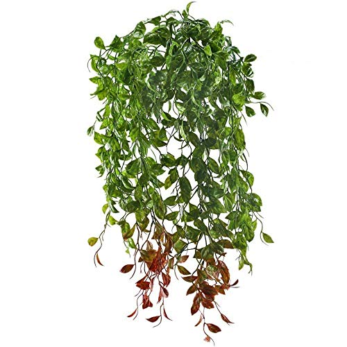 - XYXCMOR Fake Hanging Vines Plants Artificial Greenery Plastic Faux Ivy Leaf for Home Garden Patio Balcony Porch Hanging Basket Bookshelf Wall Indoor Outdoor Planters Decoration 2 Bunches