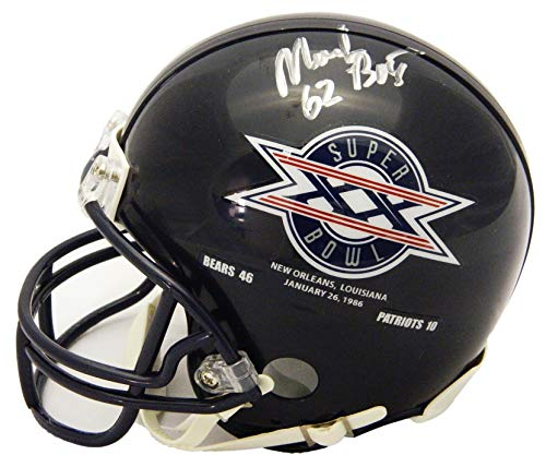 Mark Bortz Signed Chicago Bears/Super Bowl XX Champs Logo Riddell Mini ()