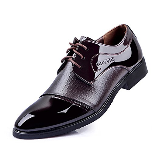 Mens Derby En Cuir Brogue Classique Lace-ups Uniform Chaussures Business Mariage Oxford Party Office Chaussures Brown nIMrCgDj1
