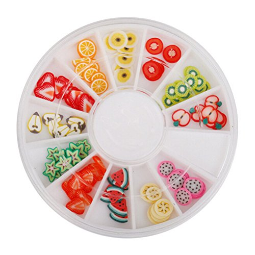 1 Set Fruit 3D Mix Fimo Nail Art Nail Tips Polymer Clay Slices Decor Wheel by Team-Management
